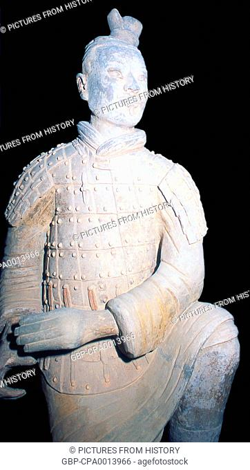 China: China: A warrior from the terracotta army guarding the tomb of Qin Shi Huang, first emperor of a unified China (r. 246-221 BCE), Xi'an