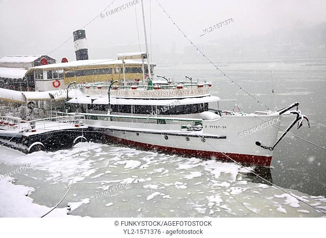 Floating Restaurant on the Frozen Danube in Budapest Hungary
