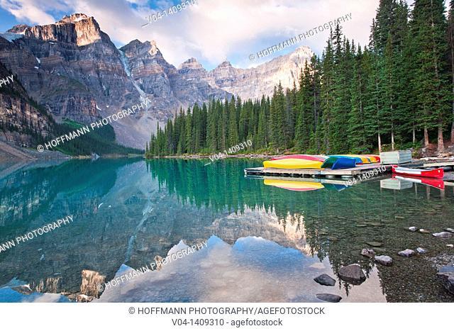 Colorful canoes at Moraine Lake, Banff National Park, Alberta, Canada