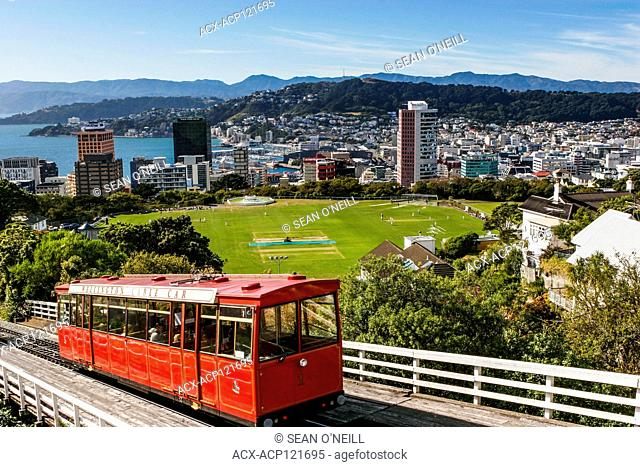 cable car and cricket match Wellington, capital New Zealand, near the North Island's southernmost point on the Cook Strait