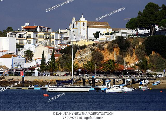 Old town of Alvor city on the bank of Alvor river, municipality of Portimão, Faro district, Algarve, Portugal, Europe
