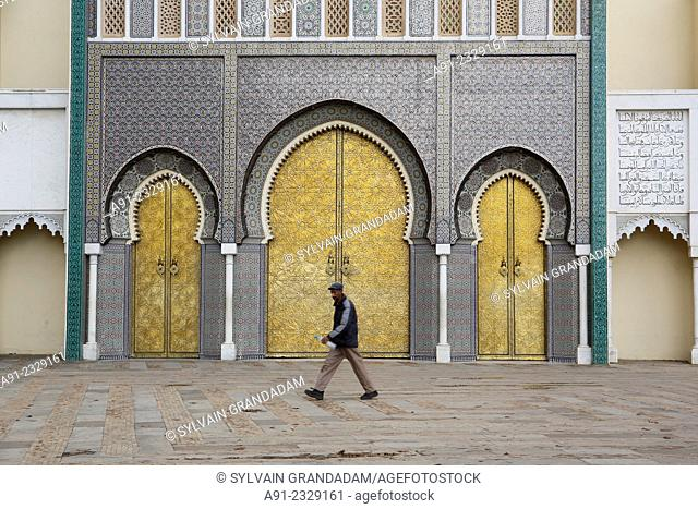 North Africa, Morocco, City of Fez (Fes), Copper monumental Gates of the Royal Palace