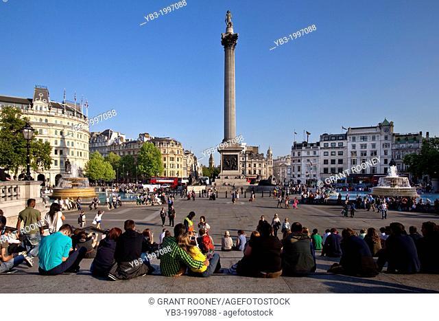 Tourists in Trafalgar Square, London, England
