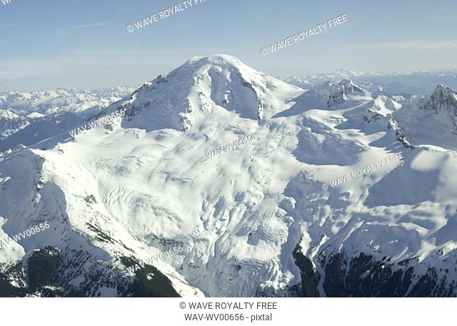 Aerial photo of a dormant snowcapped volcano, Mount Baker, Washington, USA