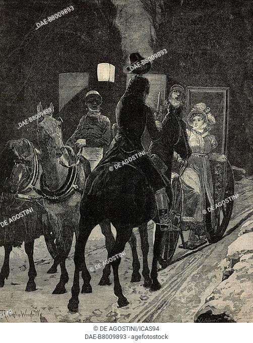 The interrupted journey, young woman in a carriage, engraving from a drawing by Richard Caton Woodville, The Illustrated London News, No 2226, December 31, 1881