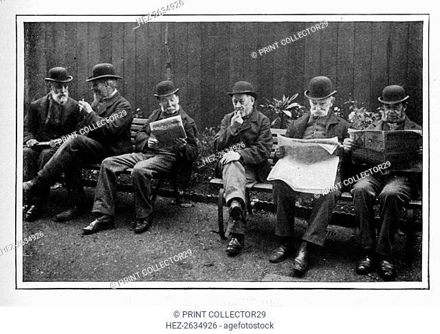 In the airing yard, St Marylebone Workhouse, Luxborough Street, London, c1901 (1903). Artist: Unknown