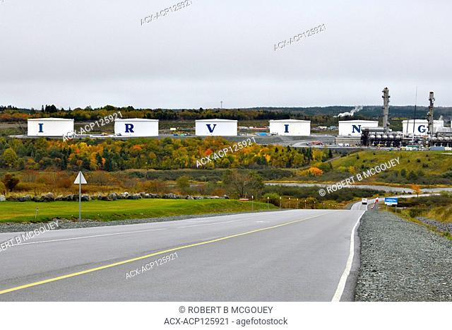 The oil holding tanks at the Irving Oil Refrinery in the east end of the city of Saint John, New Brunswick, Canada