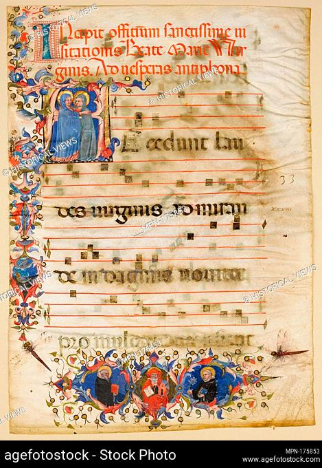 Manuscript Leaf with the Visitation in an Initial A and Cardinal Adam Easton with a Dominican Saint and Saint Dominic, from an Antiphonary. Date: ca