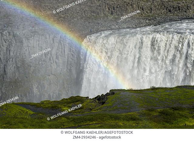 Rainbow at the Dettifoss, a waterfall in Vatnajökull National Park in Northeast Iceland, is one of the most powerful waterfalls in Europe