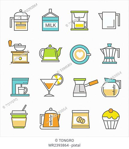 Various icons representing cafe