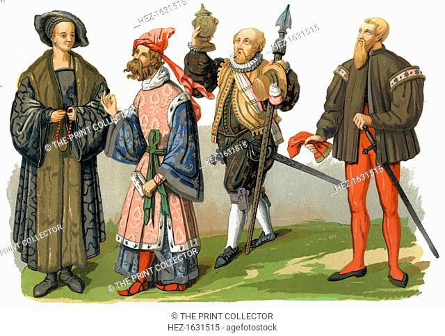 Costumes, 16th century (1849). Featured are a patrician (early 16th century), a man of quality (mid-16th century), a borgouise in festival clothes (late 16th...