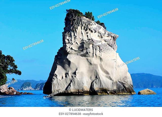 Te Hoho Rock in Te Whanganui-A-Hei (Cathedral Cove) Marine Reserve in Coromandel Peninsula North Island, New Zealand
