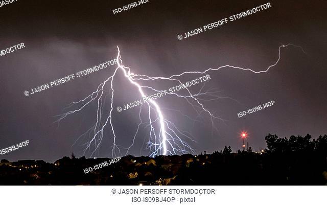 Forking lightning over Aurora, Colorado, US