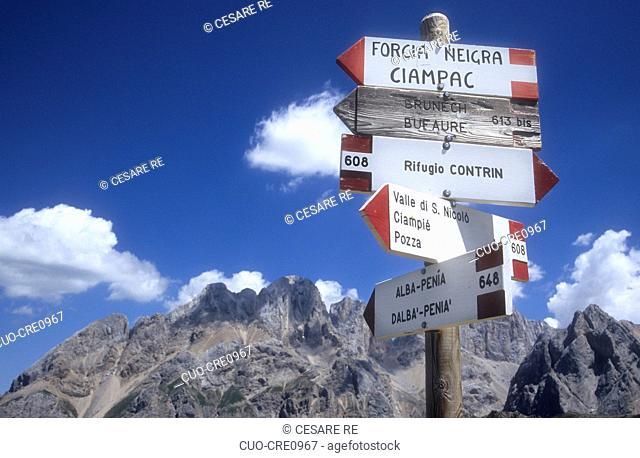 Path indication and Marmolada group, Fassa Valley (Trentino), Italy