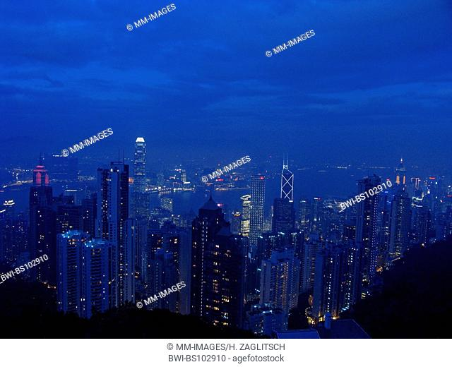 Skyline of Hong Kong, the Central District by night with the International Finance Centre, China