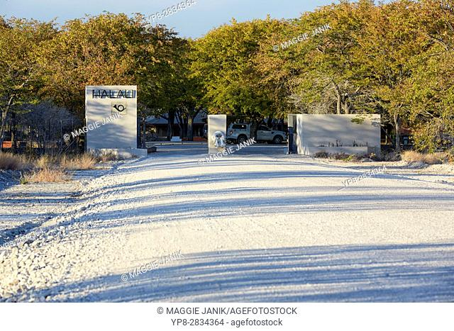 Entrance gate to Halali camp, Etosha National Park, Namibia, Africa
