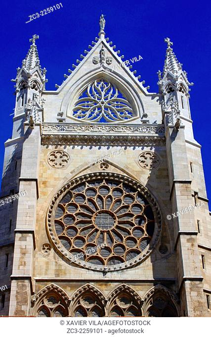 Cathedral Santa Maria de Leon, city center of Leon, Castile and Leon, Spain