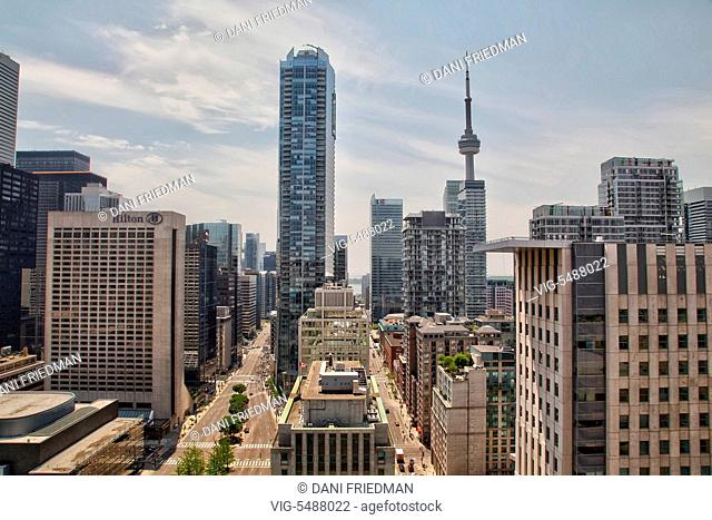 Elevated view of the CN Tower and buildings in downtown Toronto, Ontario, Canada. - TORONTO, ONTARIO, CANADA, 29/05/2016