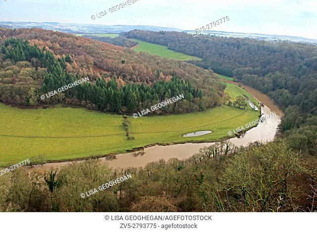 Wye valley from Symonds Yat Gloucestershire, England, Great Britain, Uk, Gb