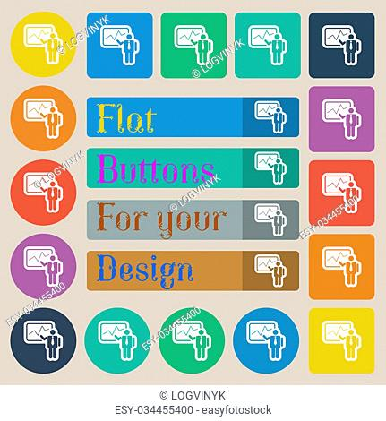 businessman making report icon sign. Set of twenty colored flat, round, square and rectangular buttons. illustration