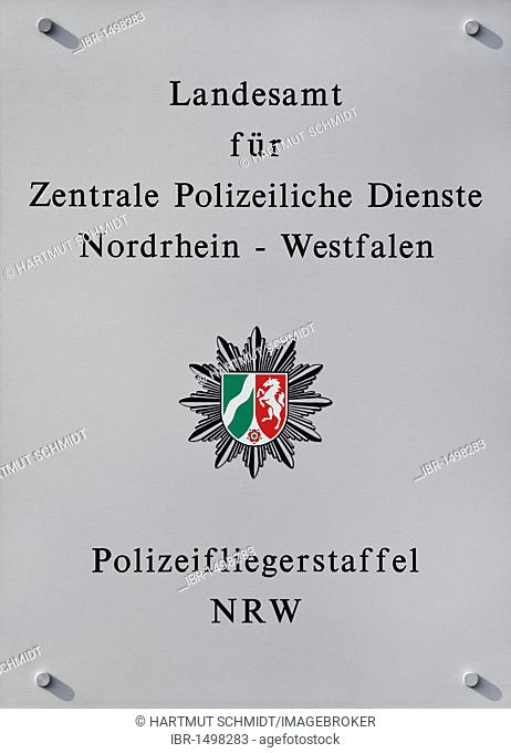 Sign Landesamt fuer Zentrale Polizeiliche Dienste Nordrhein-Westfalen, Polizeifliegerstaffel NRW, German for State Office for Central Police Services of North...
