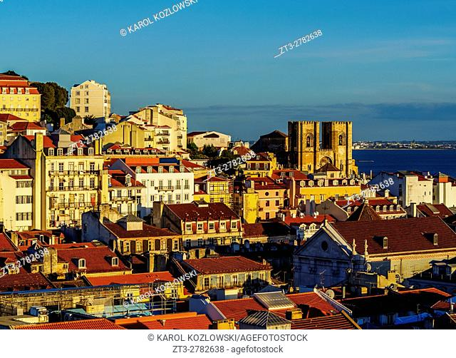 Portugal, Lisbon, Miradouro de Santa Justa, View towards the Cathedral Se