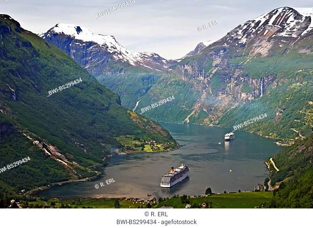 Geirangerfjord with cruise liners, Norway