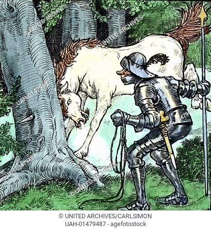 Brothers Grimm - Fairy tales - The Valiant Little Tailor. Image date circa 1910. Carl Simon Archive