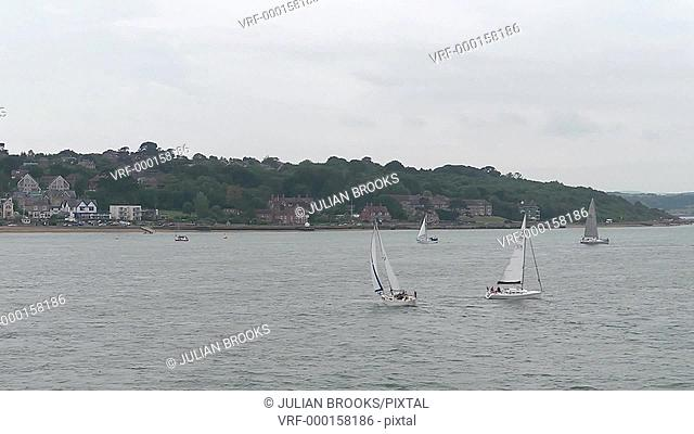 Sailing boats off Cowes, Isle of Wight