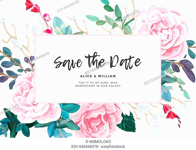 Floral wedding invitation with pink roses on white background. Horizontal RSVP or save the date template. Classic vector design