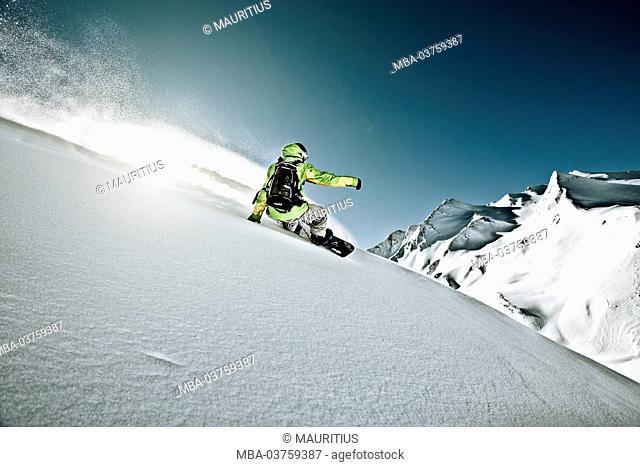 Snowboarder, sun, back light
