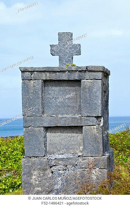 Traditional burial cross  Inishmore Island, Aran Islands, Galway County, West Ireland, Europe