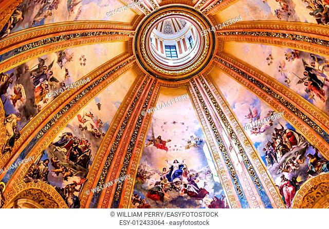 Dome Frescoes San Francisco el Grande Royal Basilica Madrid Spain. Basilica designed in the second half of 1700s, completed by Francisco Sabatini