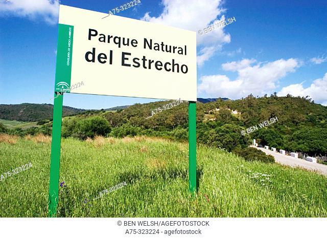Parque Natural del Estrecho sign. Cádiz province, Spain