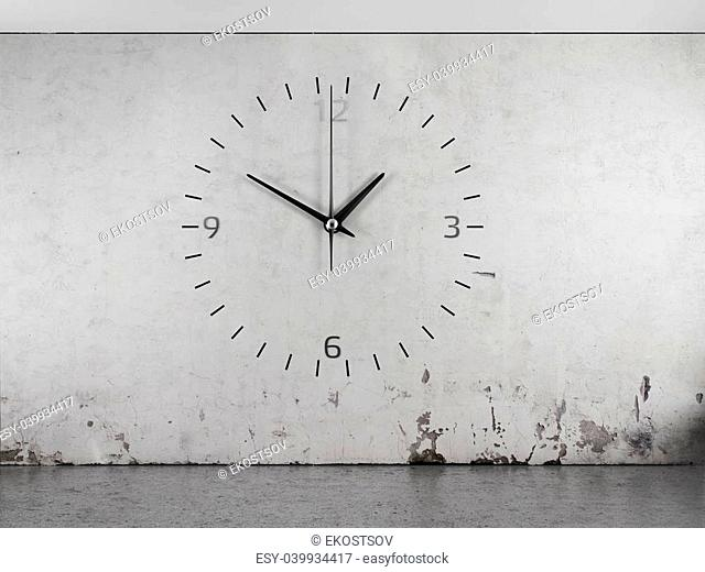 A clock on a concrete wall