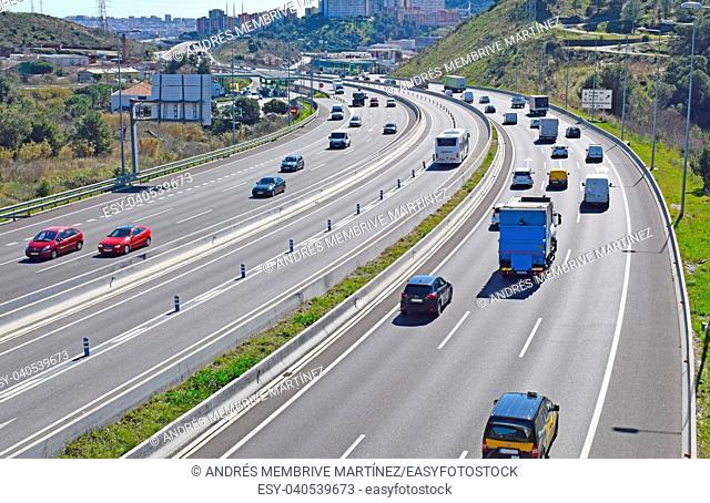 Freeway C 58 entrance to Barcelona