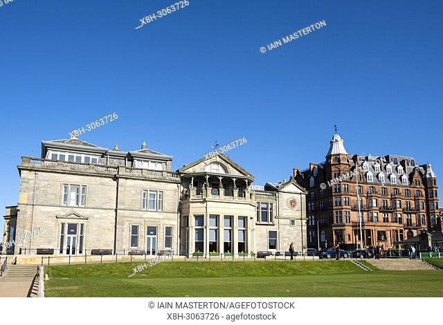 Exterior view of the club house of The Royal and Ancient Golf Club (R&A) and Hamilton Grand apartment building beside Old Course in St Andrews, Fife, Scotland