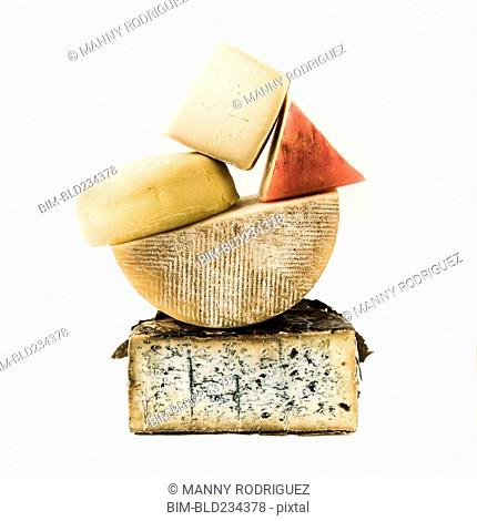 Pile of variety of cheeses
