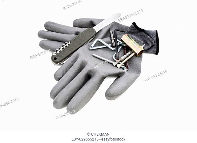 gloves and a set of different bit attachments, gloves and tools, black gloves on a white background, rubber gloves for work