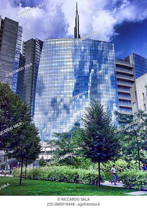 Italy, Lombardy, Milan, Porta Nuova Garibaldi Tower designed by Cesar Pelli. . . .