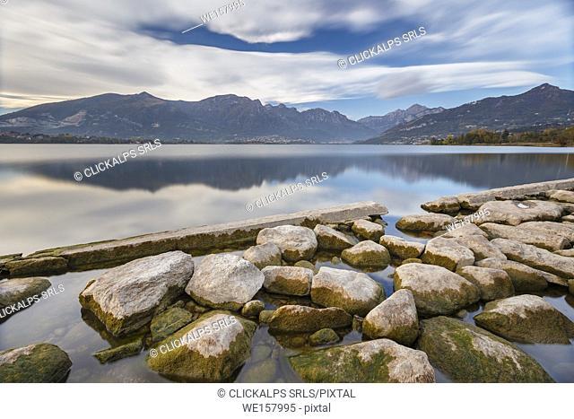 Lecco mountains reflected on lake Annone, Annone di brianza, Lecco province, Brianza, Lombardy, Italy, Europe