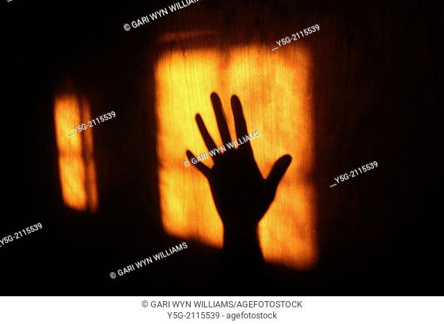 hand shadow on wooden door