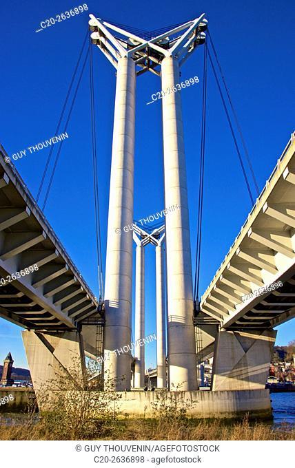Flaubert bridge, and Seine river, Rouen harbor, 76, Normandy, France