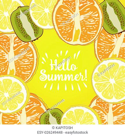 Hello Summer border of set fruit Inscription strawberry, watermelone, lemon. Vector collection summer fruit on yellow background