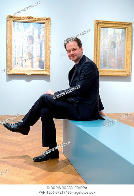 Staedel museum director Max Hollein sits in the Claude Monet exhibition at Staedel museum in Frankfurt/Main, Germany, 10 March 2015