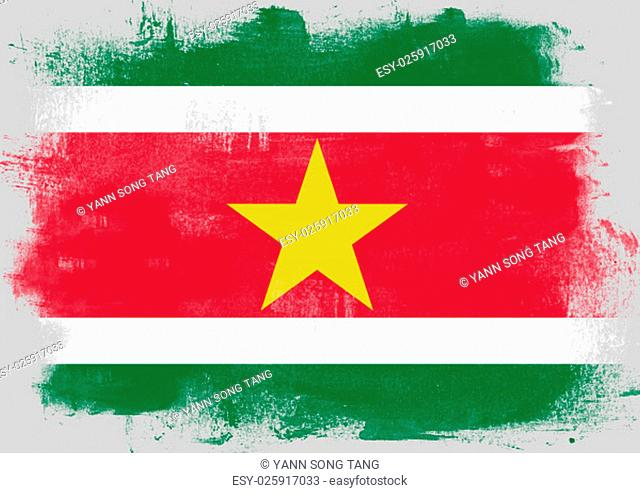 Flag of Suriname painted with brush on solid background