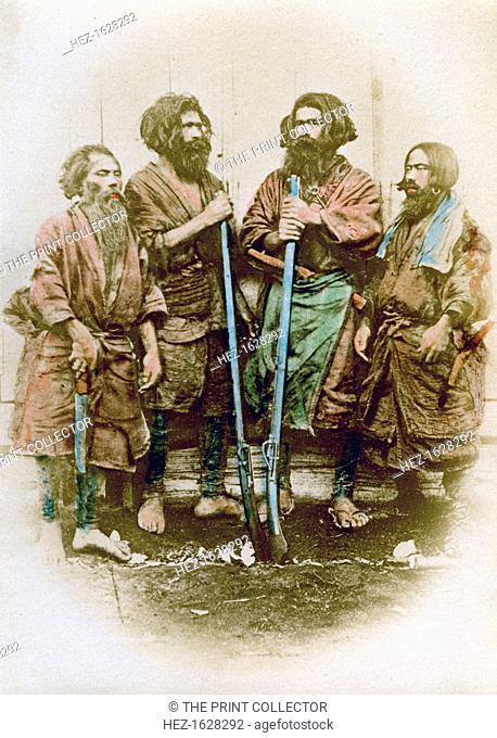 Group of Ainu people, Japan, 1882. The Ainu are a people indigenous to Hokkaido, northern Honshu, the Kuril Islands, Sakhalin and osuthern Kamchatka