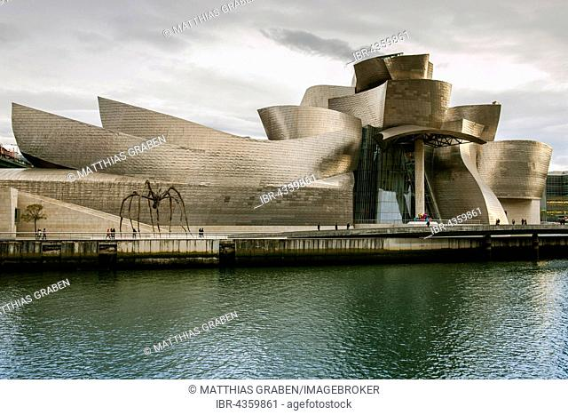 Guggenheim Museum Bilbao on the bank of the Nervion River, architect Frank O. Gehry, Bilbao, Basque Country, Spain
