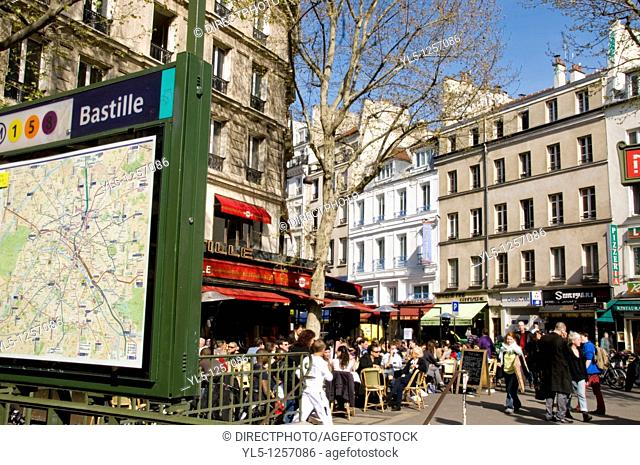 Paris, France, Parisian Café, Sidewalk Terrace, Place de la Bastille