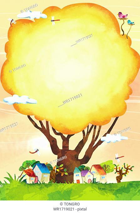 An autumn scene with a tree